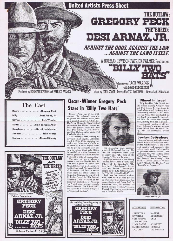 BILLY TWO HATS Rare AUSTRALIAN Movie Press Sheet Gregory Peck