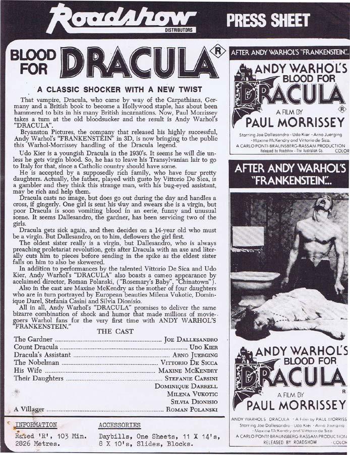 ANDY WARHOL'S BLOOD FOR DRACULA Rare AUSTRALIAN Movie Press Sheet Horror