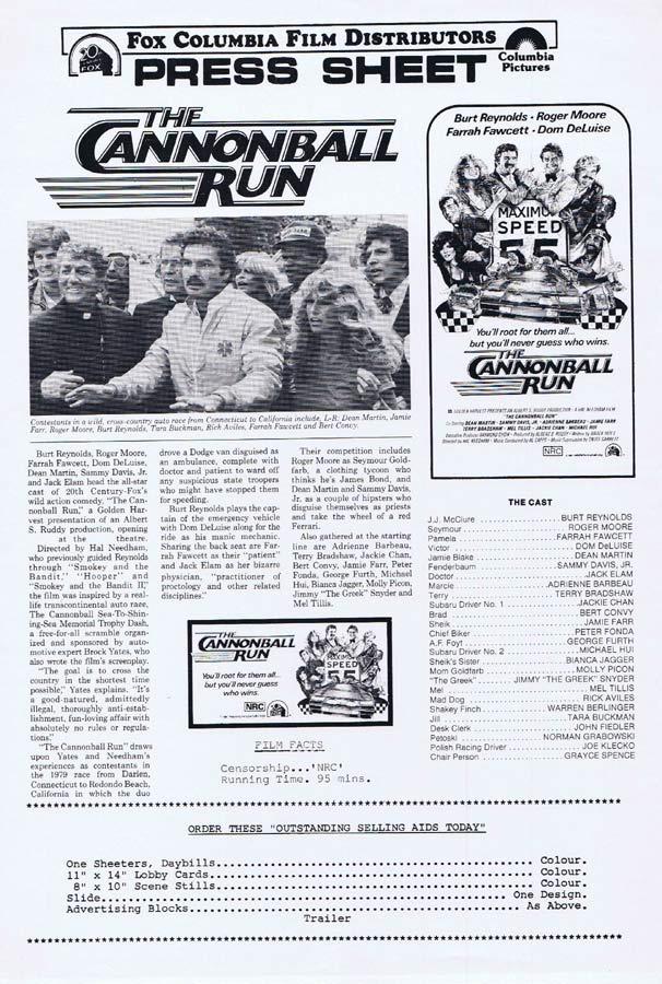 THE CANNONBALL RUN Rare AUSTRALIAN Movie Press Sheet Burt Reynolds