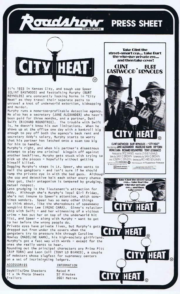 CITY HEAT Rare AUSTRALIAN Movie Press Sheet Clint Eastwood