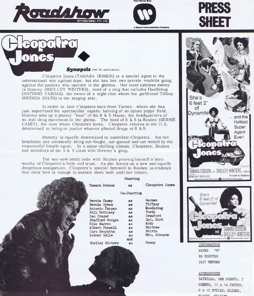 CLEOPATRA JONES Rare AUSTRALIAN Movie Press Sheet Tamara Dobson