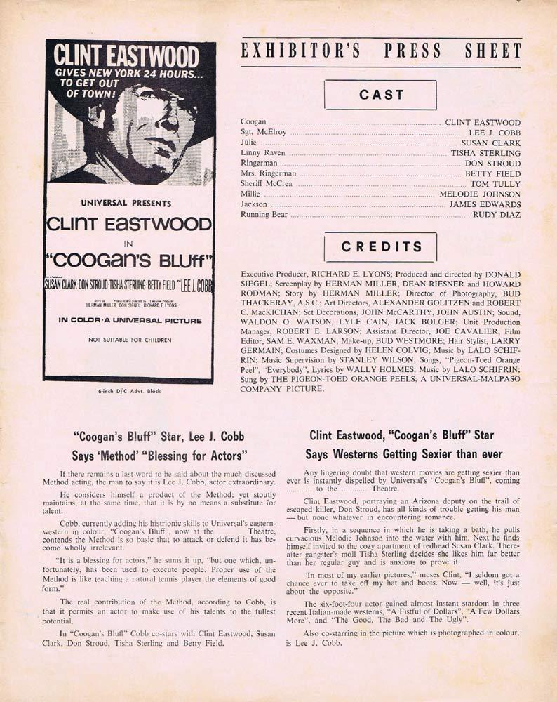 COOGAN'S BLUFF Rare AUSTRALIAN Movie Press Sheet Clint Eastwood