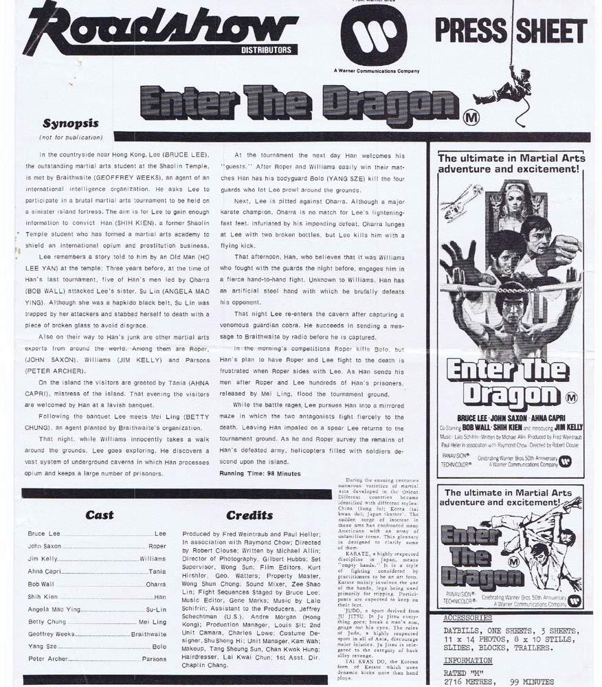 ENTER THE DRAGON Rare AUSTRALIAN Movie Press Sheet Bruce Lee John Saxon