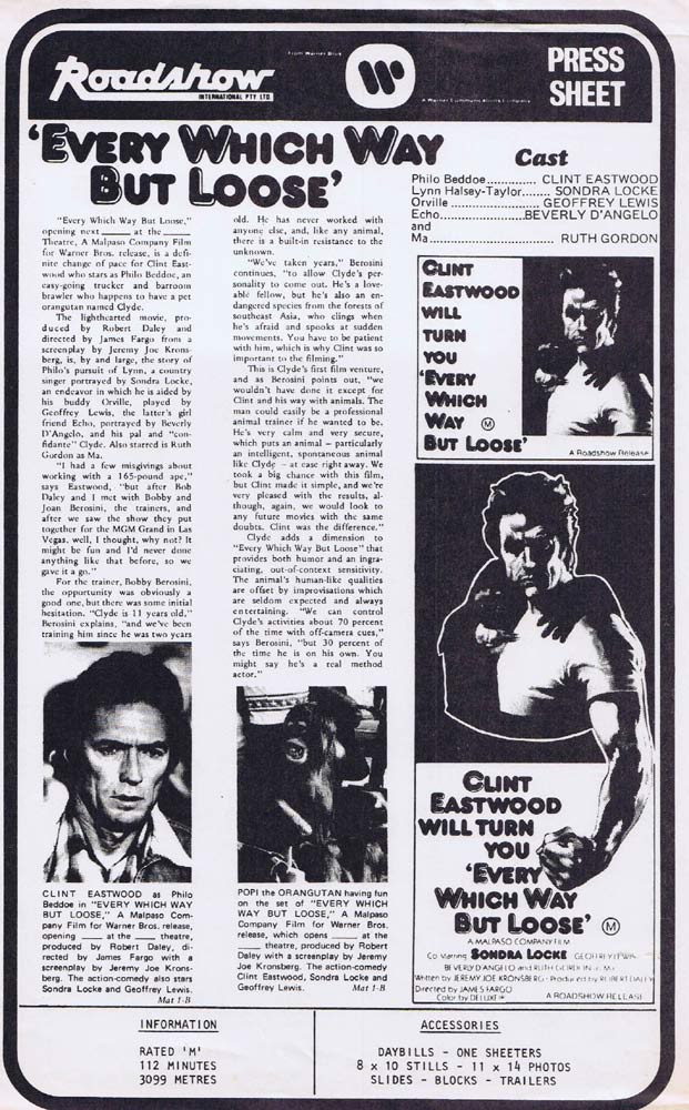 EVERY WHICH WAY BUT LOOSE Rare AUSTRALIAN Movie Press Sheet Clint Eastwood