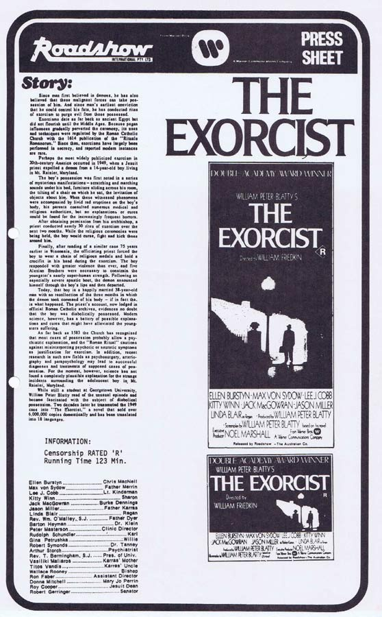 THE EXORCIST Rare AUSTRALIAN Movie Press Sheet Linda Blair