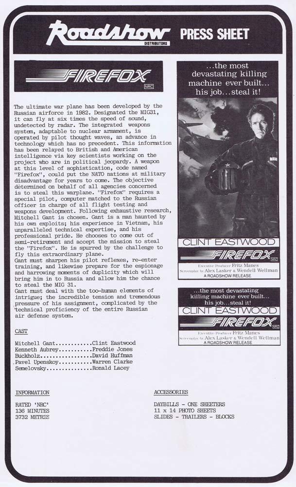 FIREFOX Rare AUSTRALIAN Movie Press Sheet Clint Eastwood