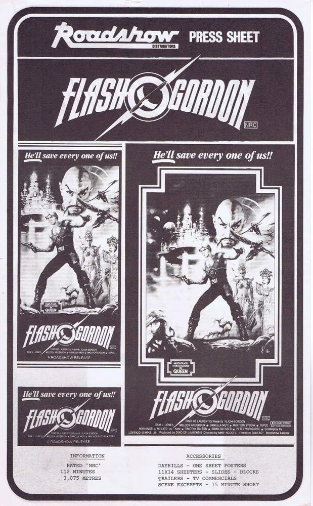 FLASH GORDON Rare AUSTRALIAN Movie Press Sheet Sam J. Jones