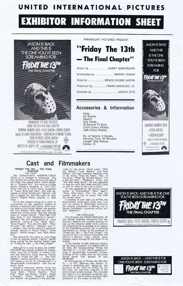 FRIDAY THE 13TH THE FINAL CHAPTER Rare AUSTRALIAN Movie Press Sheet