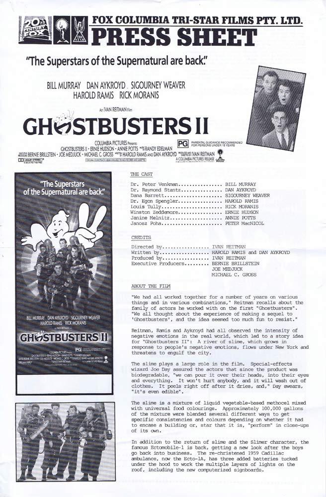 GHOSTBUSTERS II Rare AUSTRALIAN Movie Press Sheet Bill Murray
