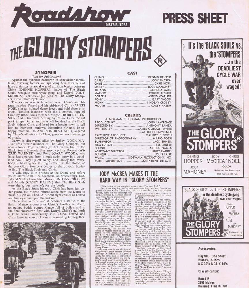 THE GLORY STOMPERS Rare AUSTRALIAN Movie Press Sheet Biker