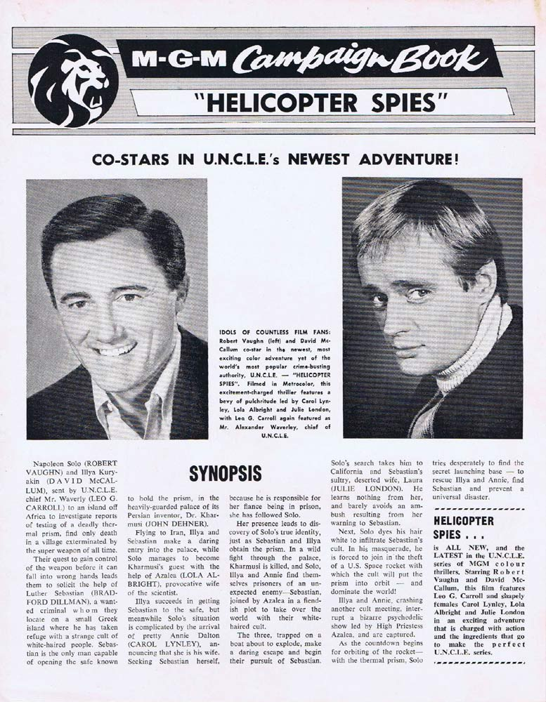 THE HELICOPTER SPIES Rare AUSTRALIAN Movie Press Sheet Man From Uncle