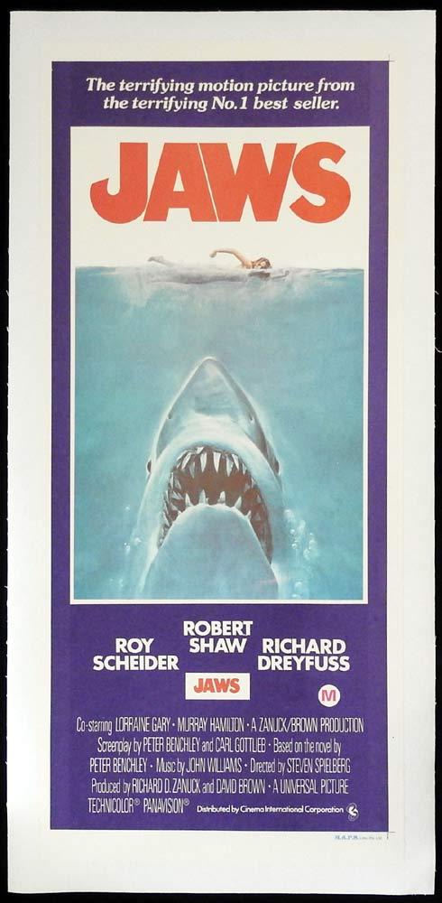 JAWS Original LINEN BACKED Daybill Movie poster Shark Roy Scheider