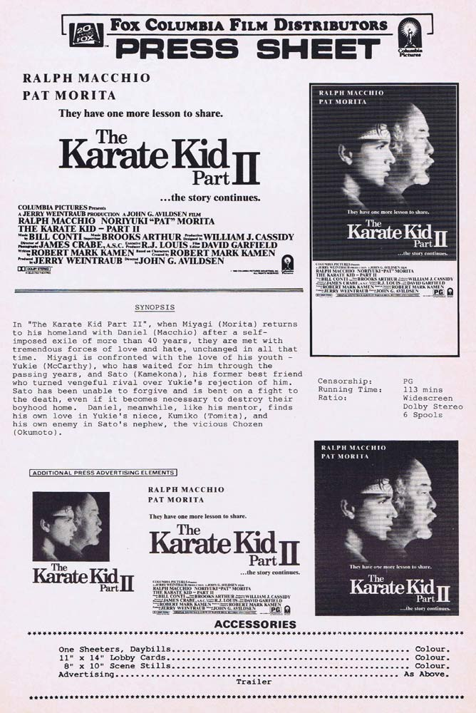 THE KARATE KID PART II Rare AUSTRALIAN Movie Press Sheet Ralph Macchio