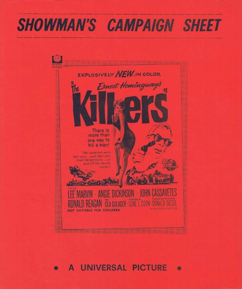 THE KILLERS Rare AUSTRALIAN Movie Press Sheet Don Siegel Lee Marvin