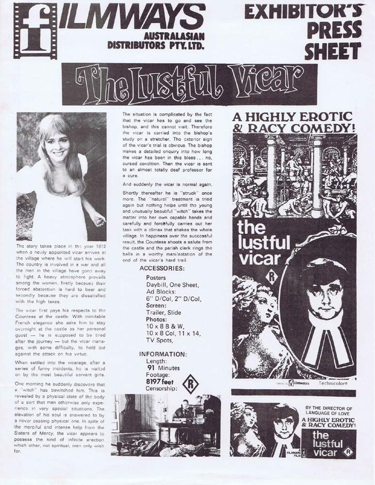 THE LUSTFUL VICAR Rare AUSTRALIAN Movie Press Sheet Jarl Borssén