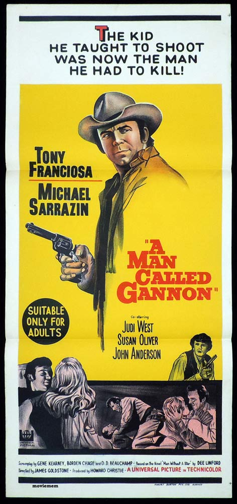 A MAN CALLED GANNON Daybill Movie poster ANTHONY FRANCIOSA