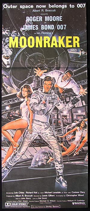 "MOONRAKER Original Australian daybill Movie poster James Bond 007 ""B"""