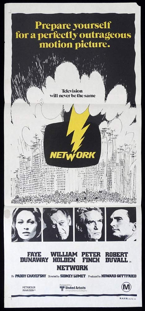 NETWORK Original Daybill Movie Poster Faye Dunaway William Holden