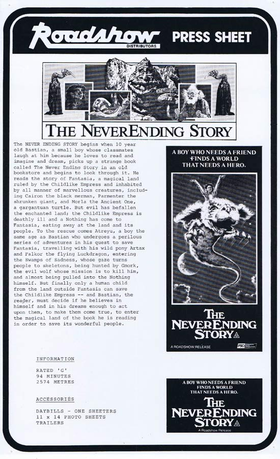 THE NEVER ENDING STORY Rare AUSTRALIAN Movie Press Sheet Wolfgang Petersen