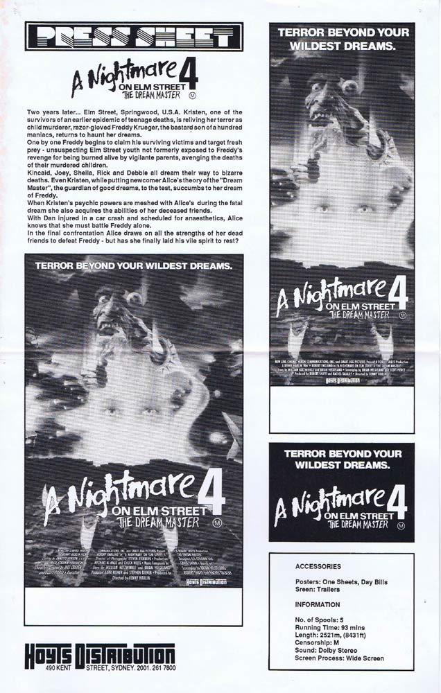 A NIGHTMARE ON ELM STREET 4 Rare AUSTRALIAN Movie Press Sheet Robert Englund