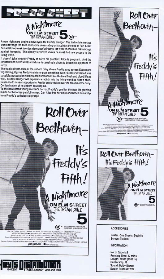 A NIGHTMARE ON ELM STREET V Rare AUSTRALIAN Movie Press Sheet Horror