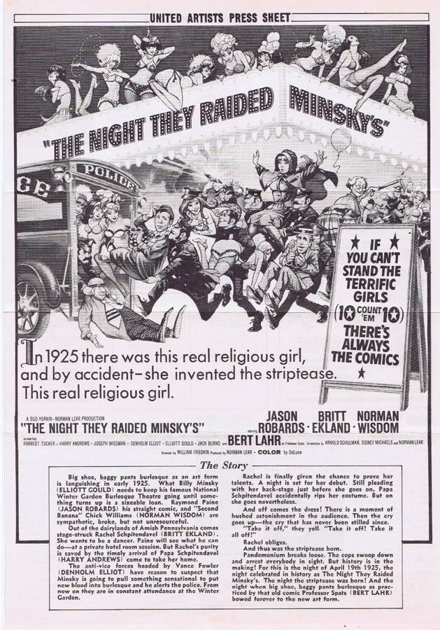 THE NIGHT THEY RAIDED MINSKY'S Rare AUSTRALIAN Movie Press Sheet Jason Robards