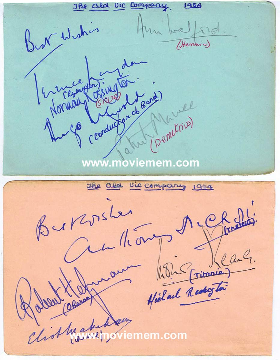 OLD VIC THEATRE COMPANY 1954 Midsummer Nights Dream Cast Autographs