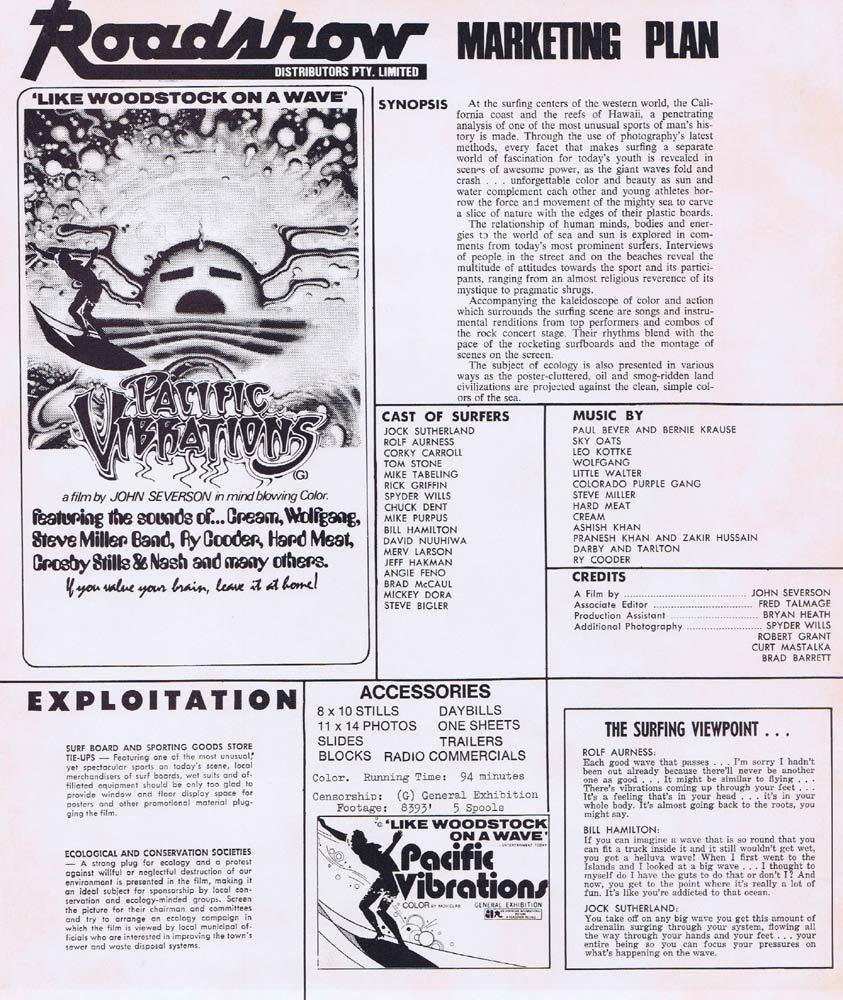 PACIFIC VIBRATIONS Rare AUSTRALIAN Movie Press Sheet Surfing Classic