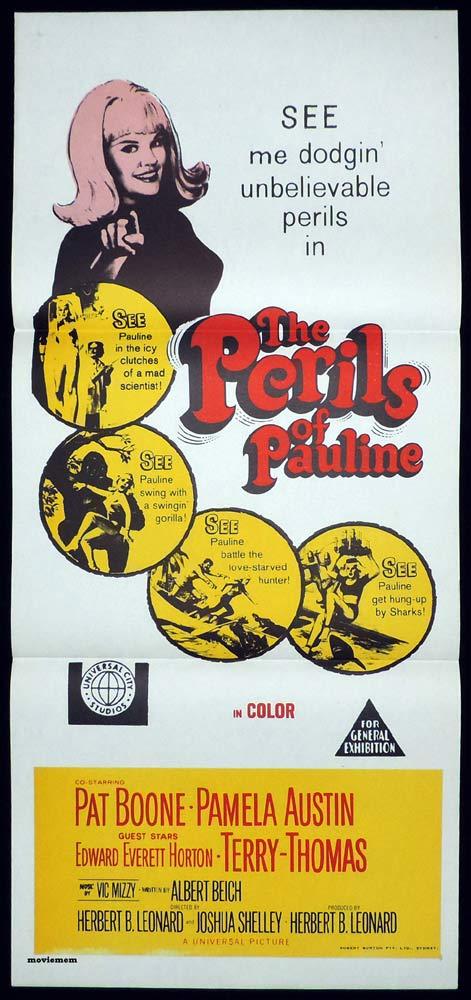 THE PERILS OF PAULINE Original Daybill Movie Poster Pat Boone Pamela Austin