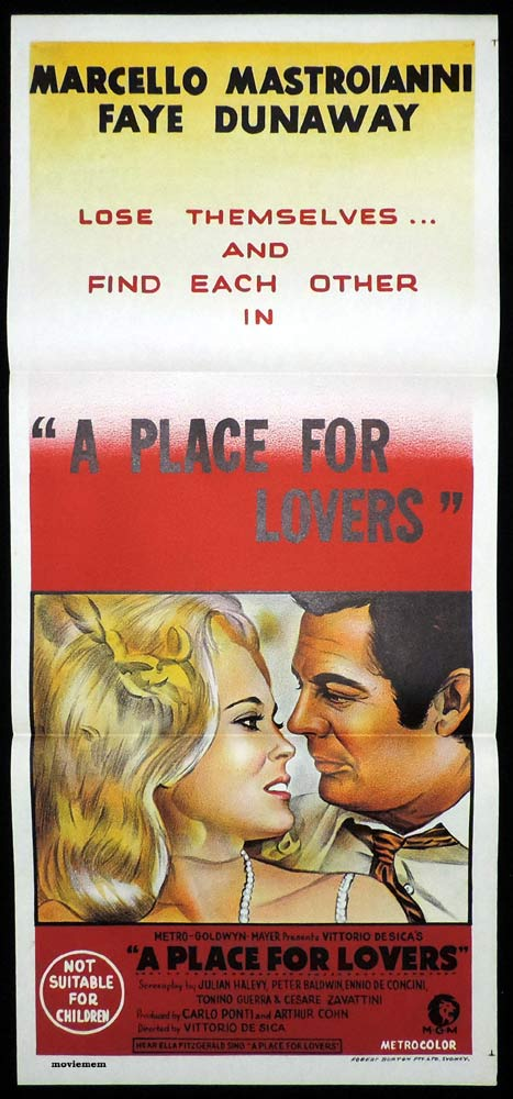 A PLACE FOR LOVERS Original Daybill Movie Poster Faye Dunaway Marcello Mastroianni