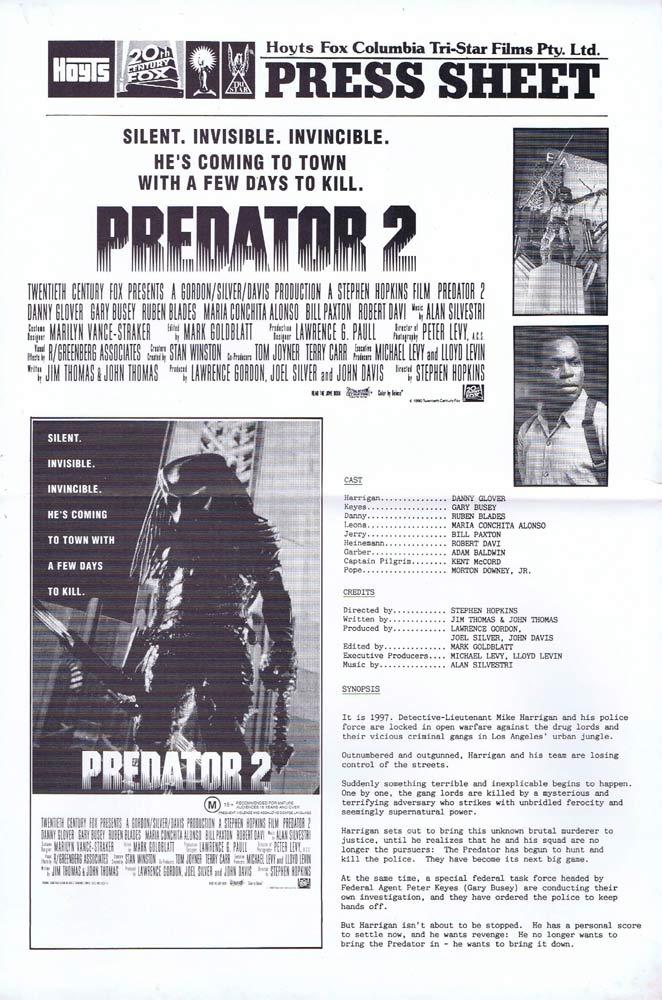 PREDATOR 2 Rare AUSTRALIAN Movie Press Sheet Danny Glover Gary Busey