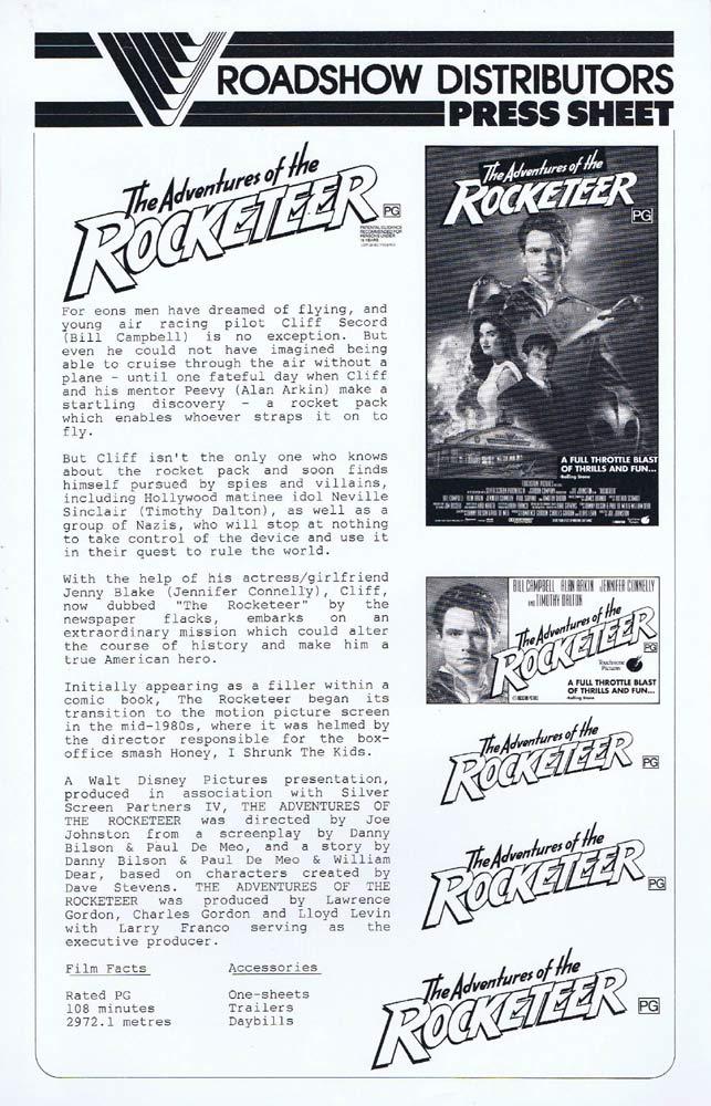 THE ROCKETEER Rare AUSTRALIAN Movie Press Sheet Bill Campbell Alan Arkin