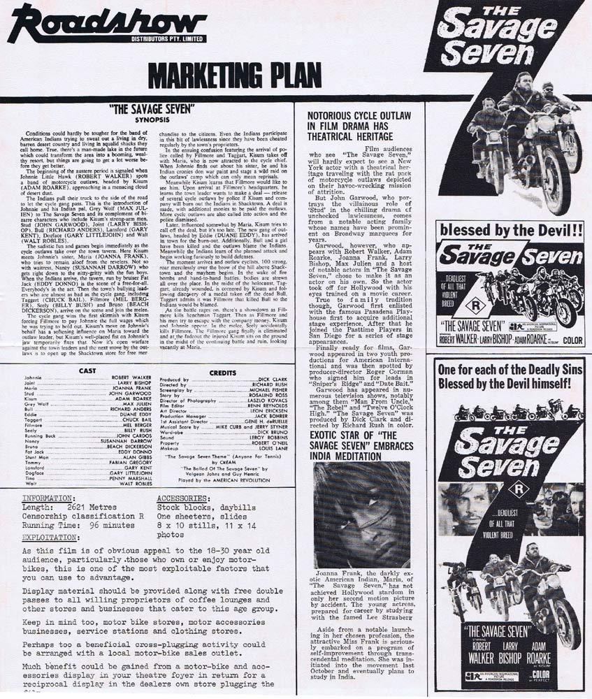 THE SAVAGE SEVEN Rare AUSTRALIAN Movie Press Sheet Biker