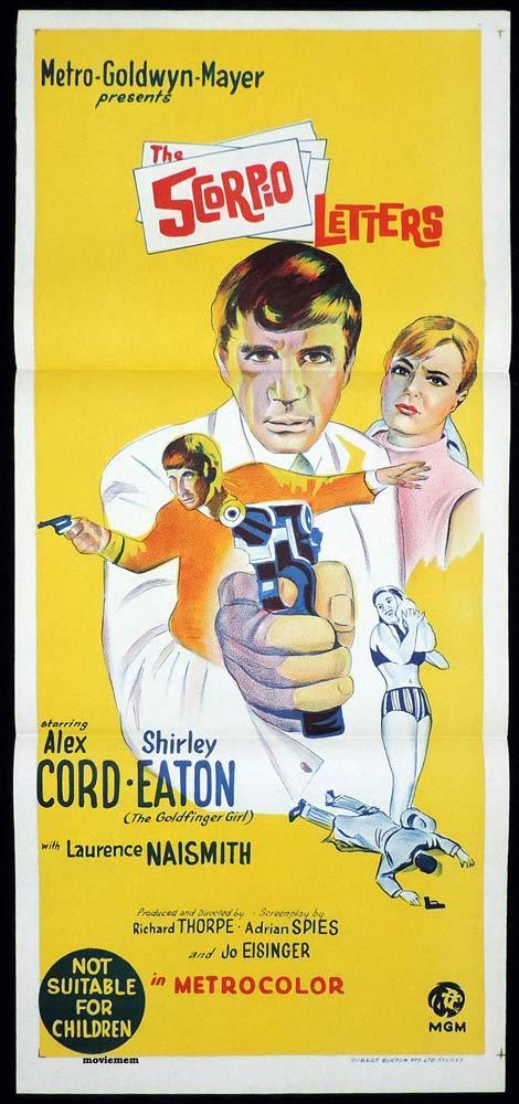 THE SCORPIO LETTERS Original Daybill Movie Poster Alex Cord Shirley Eaton