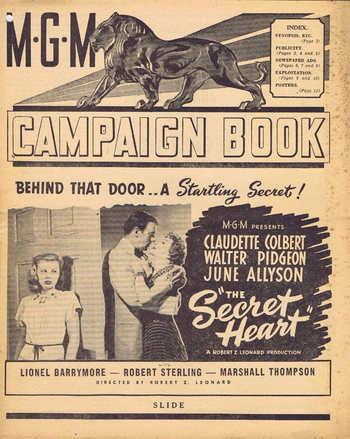 THE SECRET HEART Rare AUSTRALIAN Movie Campaign Book Claudette Colbert Walter Pidgeon