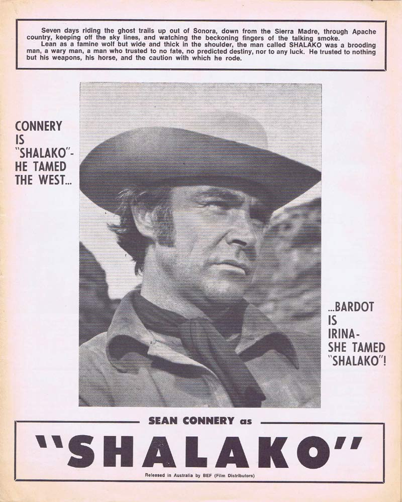 SHALAKO Rare AUSTRALIAN Movie Press Sheet Sean Connery Brigitte Bardot