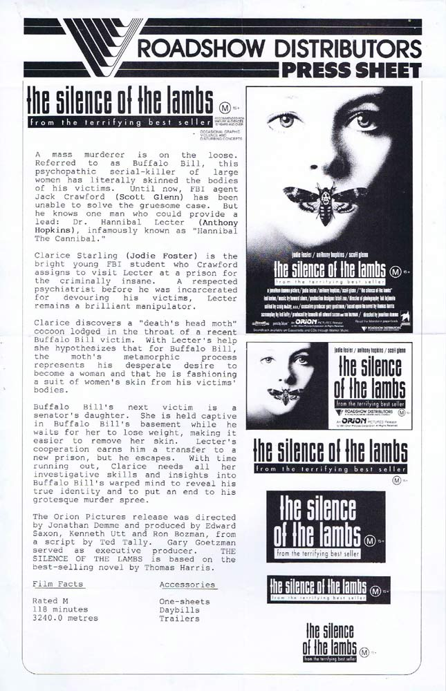 THE SILENCE OF THE LAMBS Rare AUSTRALIAN Movie Press Sheet Jodie Foster Anthony Hopkins