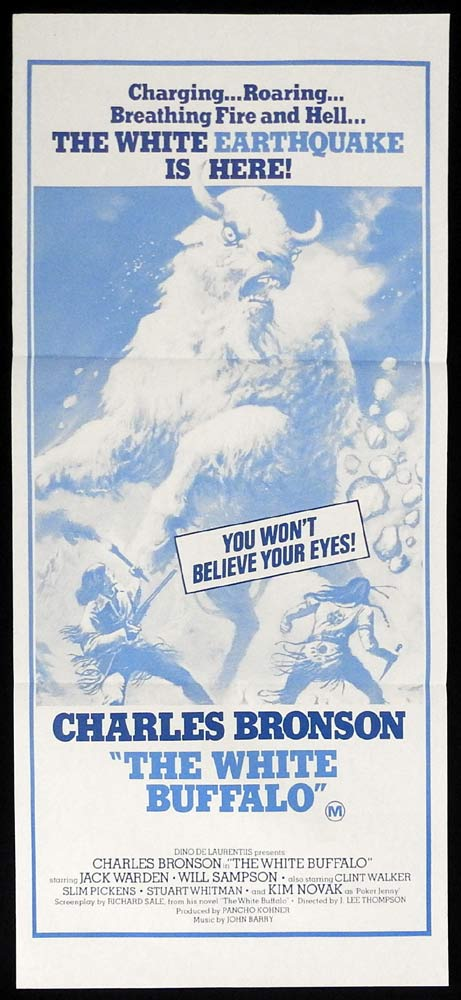 THE WHITE BUFFALO Original Daybill Movie poster Charles Bronson Kim Novak