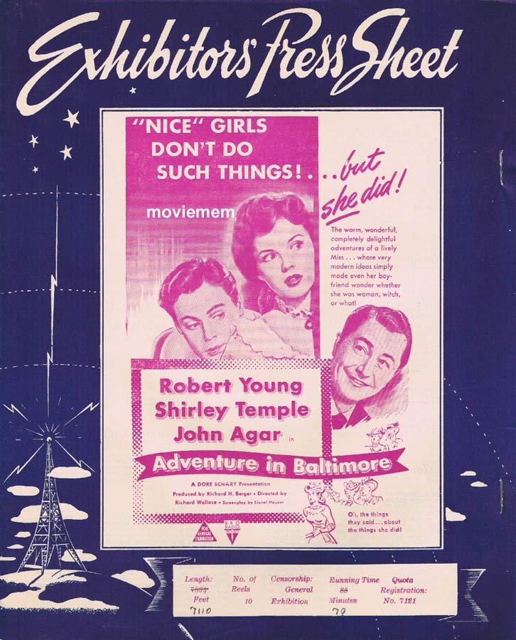 ADVENTURE IN BALTIMORE Rare RKO AUSTRALIAN Movie Press Sheet