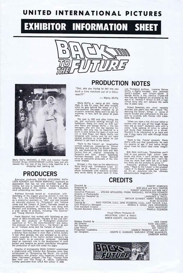 BACK TO THE FUTURE Rare AUSTRALIAN Movie Press Sheet Michael J. Fox