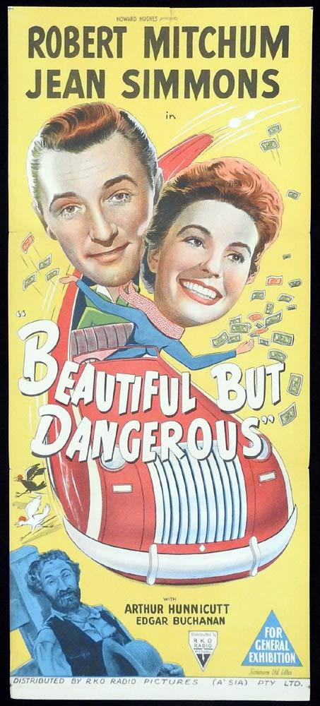 BEAUTIFUL BUT DANGEROUS Original Daybill Movie Poster RKO Robert Mitchum