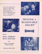 BEYOND A REASONABLE DOUBT Rare RKO AUSTRALIAN Movie Press Sheet