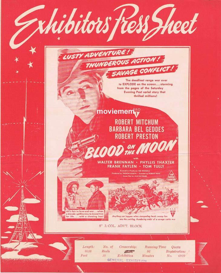 BLOOD ON THE MOON Rare RKO AUSTRALIAN Movie Press Sheet