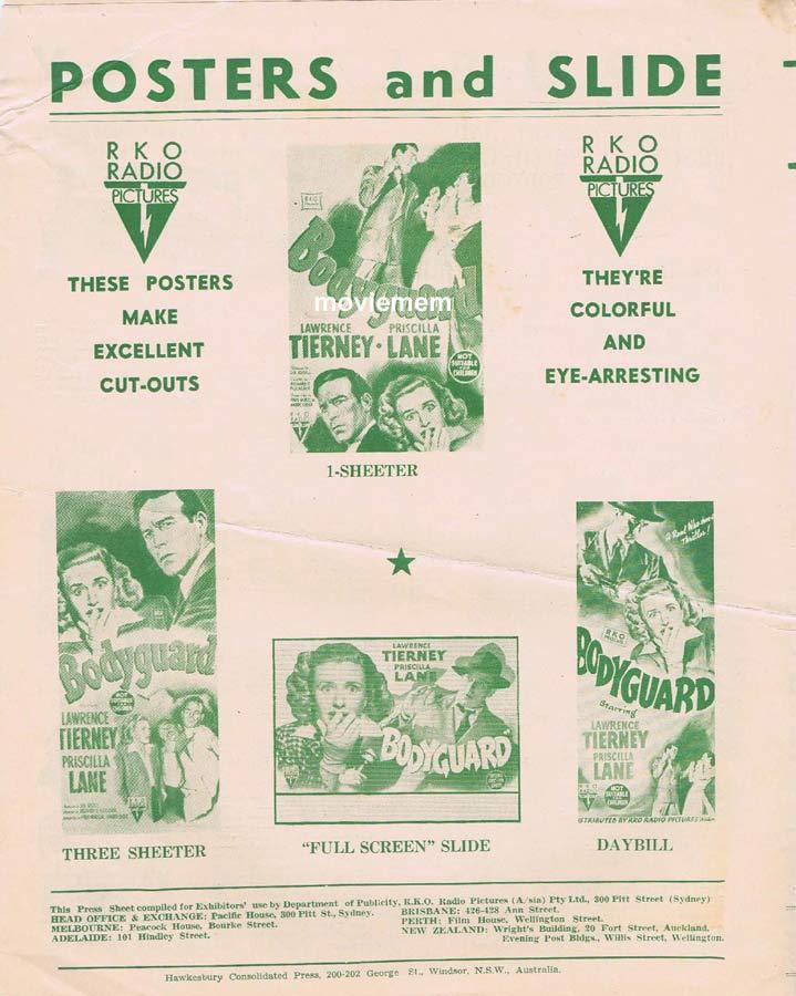 BODYGUARD Rare RKO AUSTRALIAN Movie Press Sheet