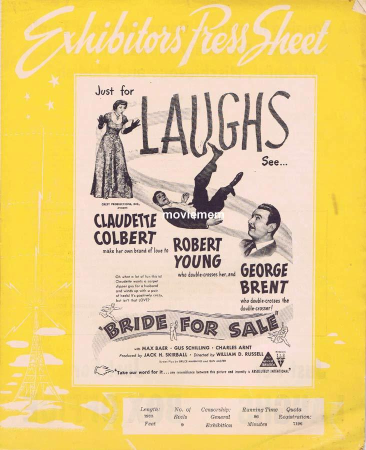 BRIDE FOR SALE Rare RKO AUSTRALIAN Movie Press Sheet