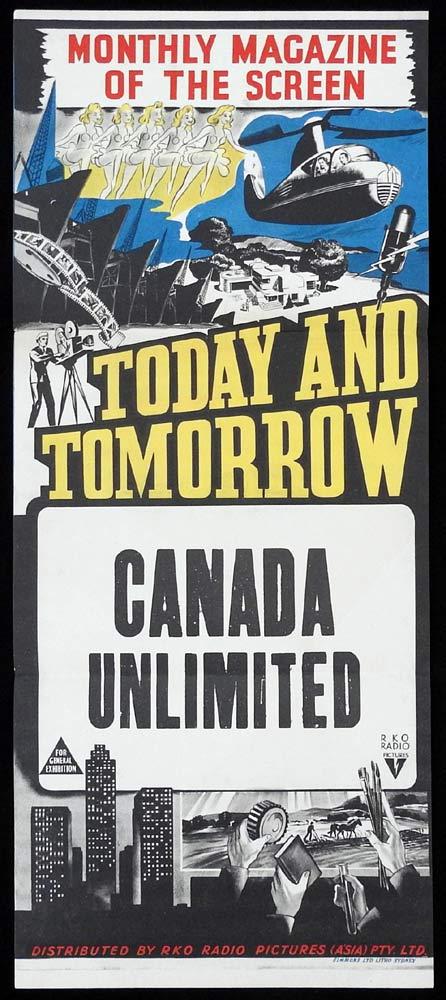 CANADA UNLIMITED Stock Blank RKO Daybill Movie poster 1950s Australian Newsreel