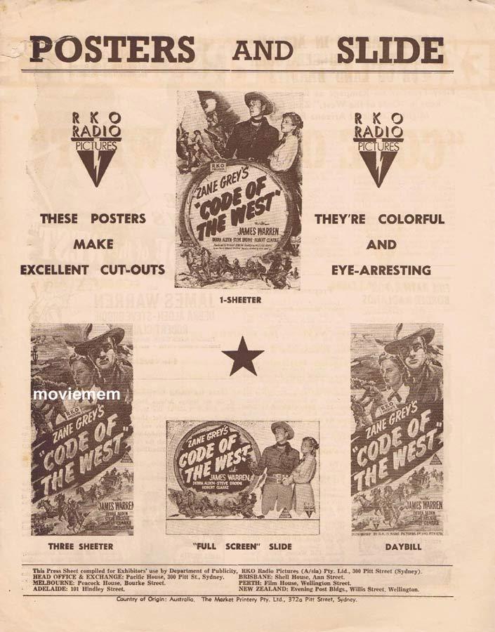CODE OF THE WEST Rare RKO AUSTRALIAN Movie Press Sheet 1947 James Warren