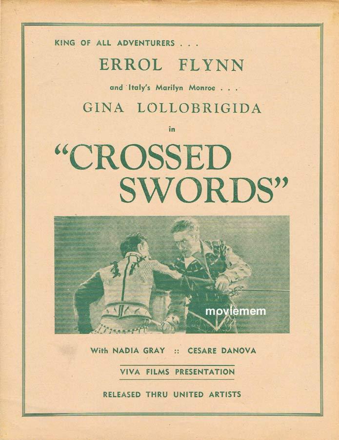 CROSSED SWORDS Rare RKO AUSTRALIAN Movie Press Sheet Errol Flynn