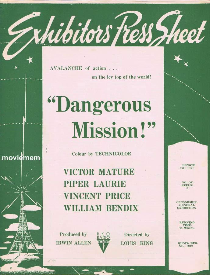 DANGEROUS MISSION Rare RKO AUSTRALIAN Movie Press Sheet