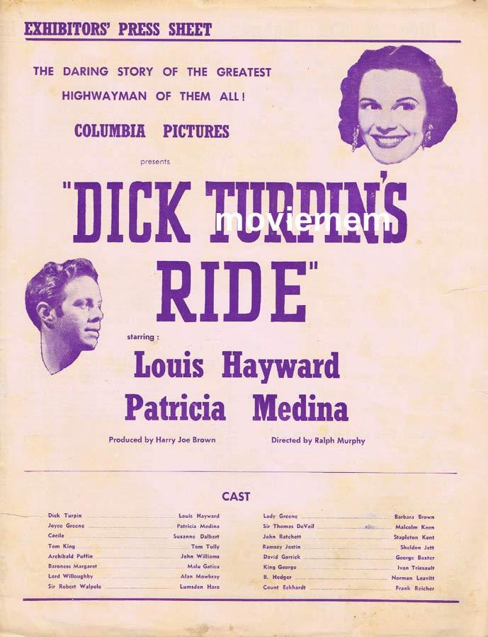 DICK TURPINS RIDE Rare RKO AUSTRALIAN Movie Press Sheet